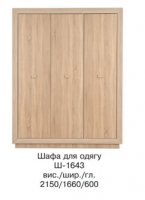 Шкаф для одежды 3Д Ш-1643 КОРВЕТ